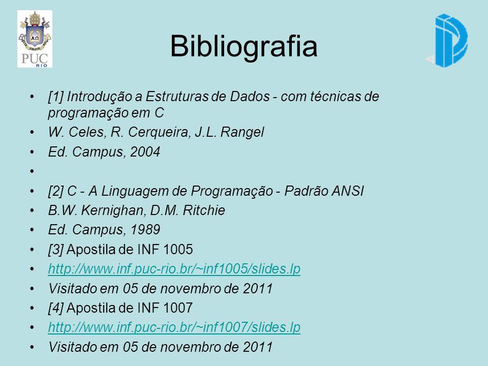 Bibliografia [1] Introdução a Estruturas de Dados - com técnicas de programação em C. W. Celes, R. Cerqueira, J.L. Rangel.